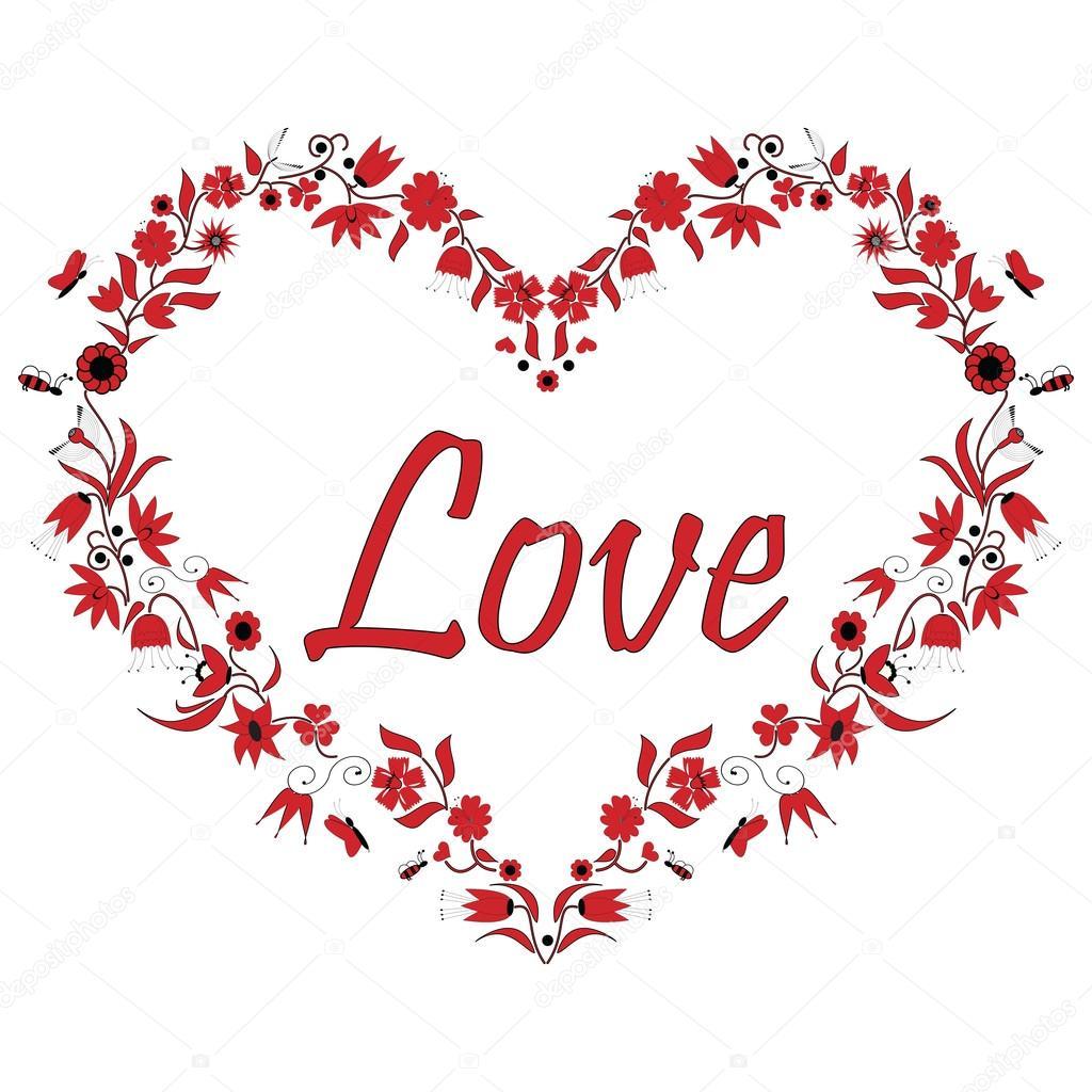 forme de coeur amour saint valentin avec dessin effet dont les fleurs et les abeilles en noir. Black Bedroom Furniture Sets. Home Design Ideas