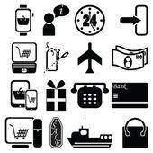 Fotografia Su Borsa linea Shopping icone, contrassegno di vendita, aereo, trasporto, check-out, tablet pc mobile, portatile, 24 consegna, consegna ampio mondo di credito pagamento in contanti, regalo, taglio di prezzo, contrassegno di vendita, nave, aereo, telefono