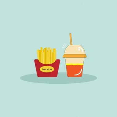 French Fries in the red box and Drink Fast Food.Vector Illustration for Menu, poster,  brochure, web, flyer, and Advertisement Design.Light Blue Background icon