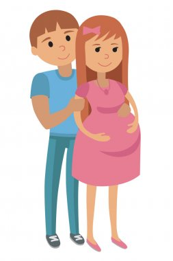Illustration of Man with Pregnant Woman