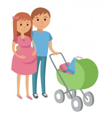 Pregnant woman and her husband on shopping
