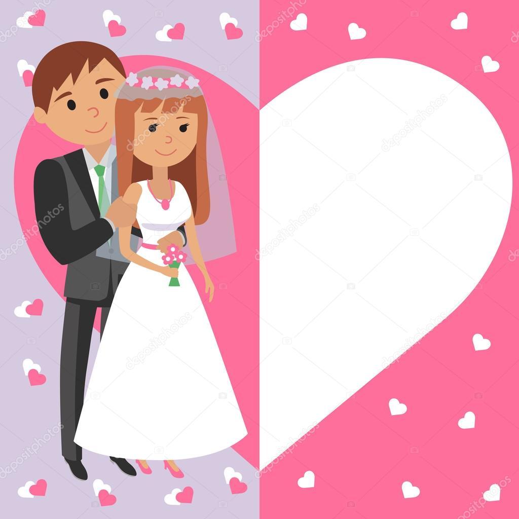Ilustración de vector de novios. Invitación a ceremonia de boda en ...