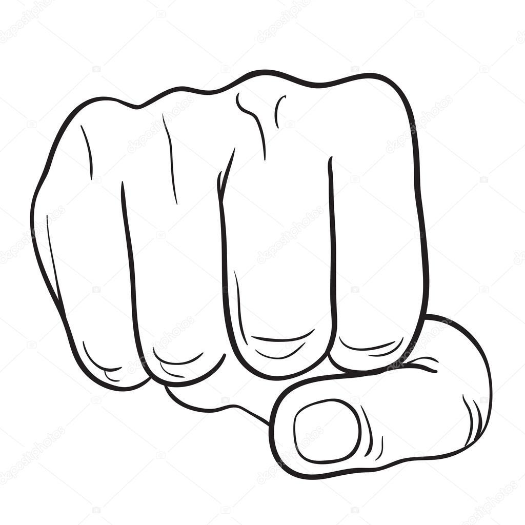 Mano con dedo pulgar, símbolo de las manos. Ilustración de vector ...
