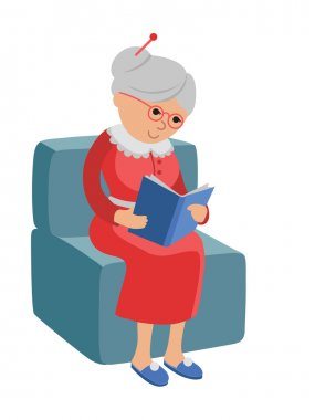 Illustration featuring an elderly woman reading a book. Vector illustration in flat style about the hobby of the elderly. Pensioner sitting in a chair at home reading a book. stock vector