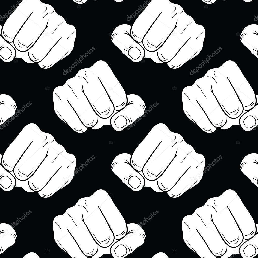 Raised Fist Strong Fist On A Black Seamless Background Mans Hand