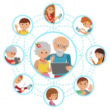 Family vector illustration flat style people faces online social media communications. Man woman parents grandparents with tablet phone.