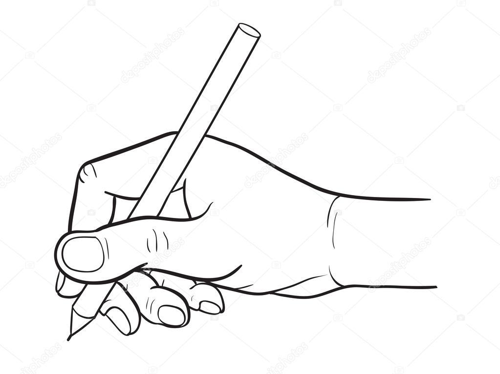 desenho de linha simples de m u00e3o segurando uma caneta