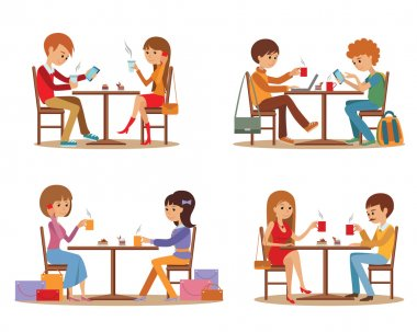 Group of friends In cafe. Young people talking friendly at coffee shop while drinking and using laptop, vector illustration.