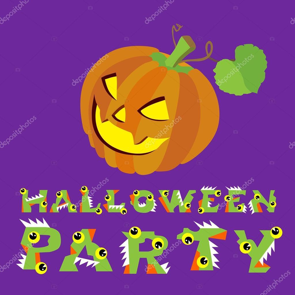 Creepy Halloween Pumpkin Drawings.Halloween Vector Illustration Creepy Pumpkin And Letters