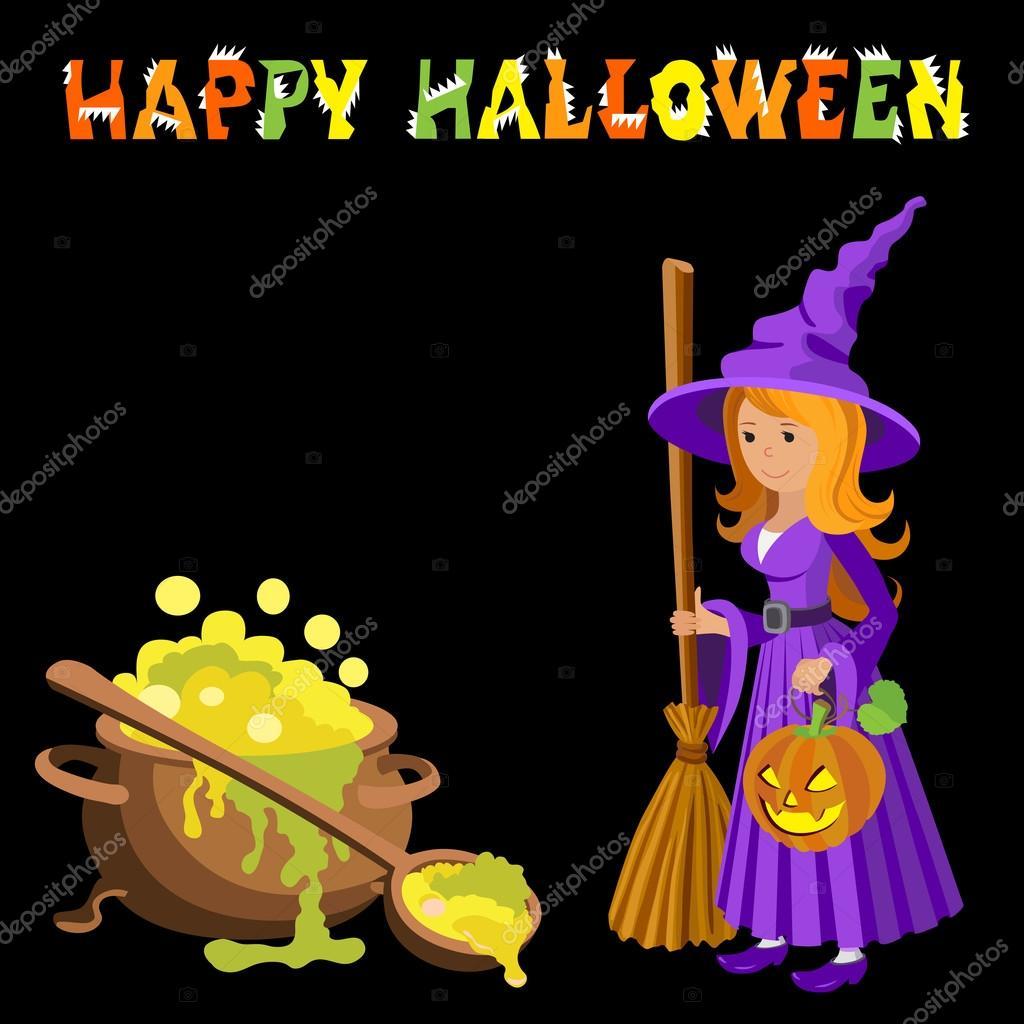Image de dessin anim vectorielle de sorci re dr le avec - Image halloween drole ...