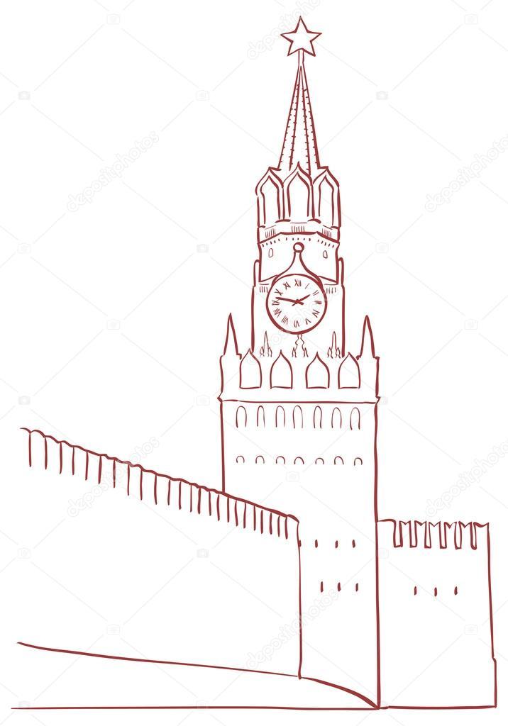 Картинки, спасская башня картинки нарисованные