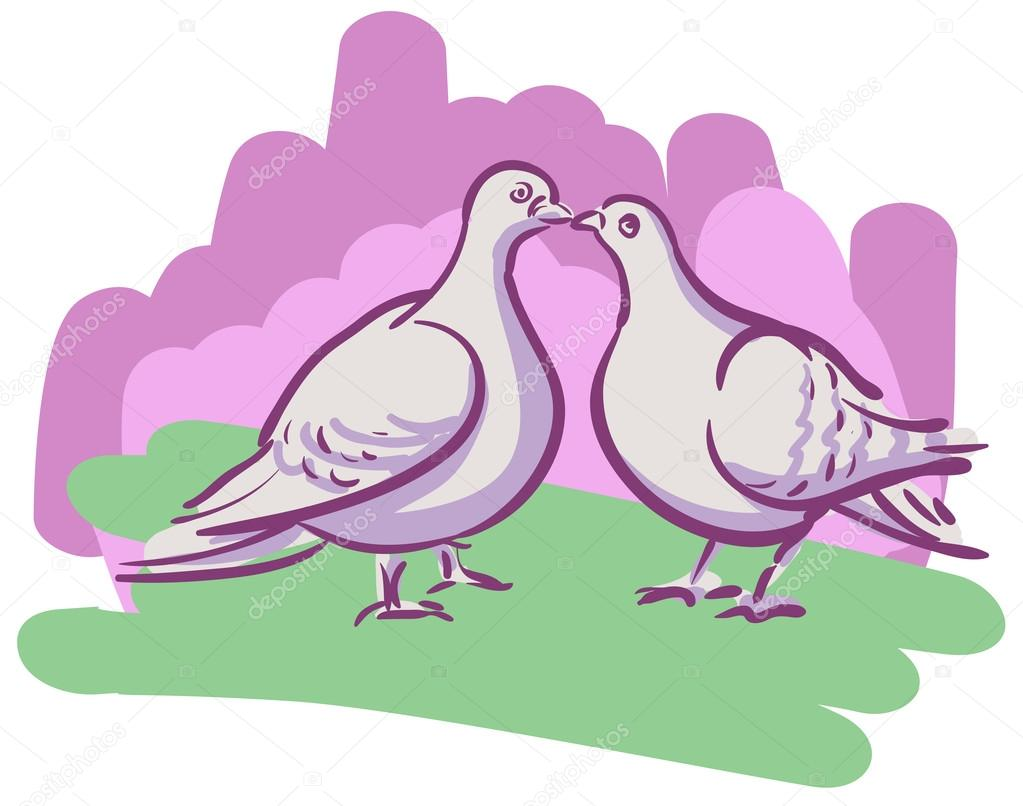 Vector drawing couples kissing doves — Stock Vector © Tusia #78369228