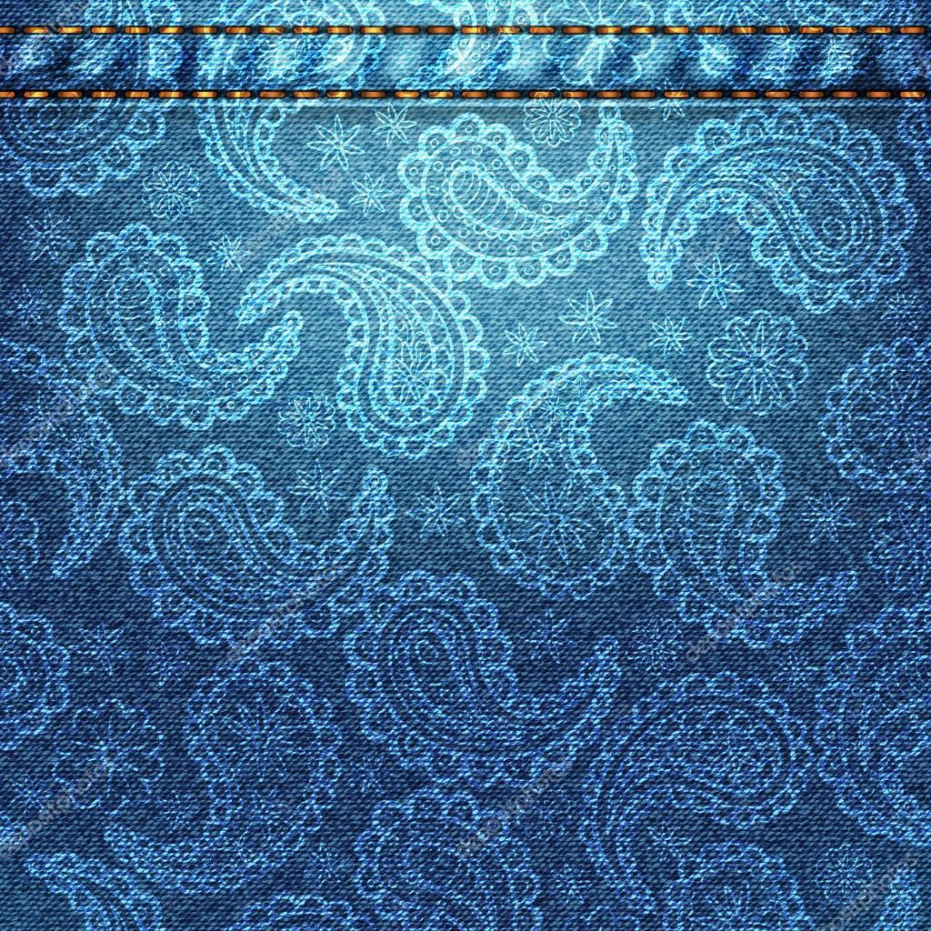 6f5b6bf5d Textura de tela de mezclilla con paisley. — Archivo Imágenes ...