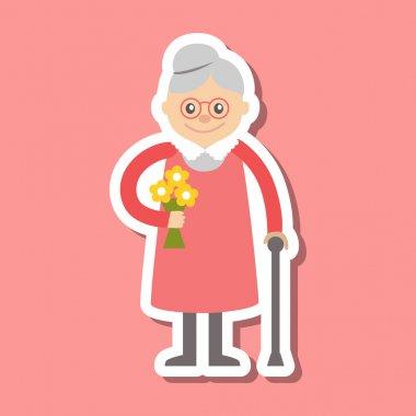 Vector illustration. Grandmother icon