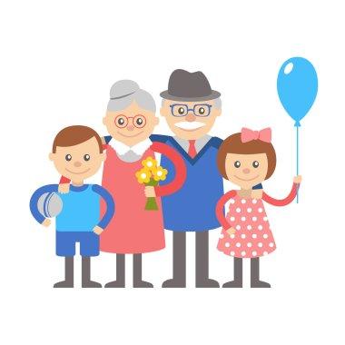 Grandparents with grandchildren. Illustration on white background.