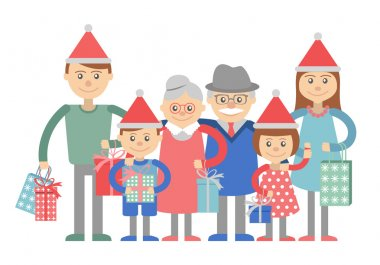 Big happy family with Christmas gifts in hands. Vector illustration on a white background. Grandma and grandpa, children, grandchildren.