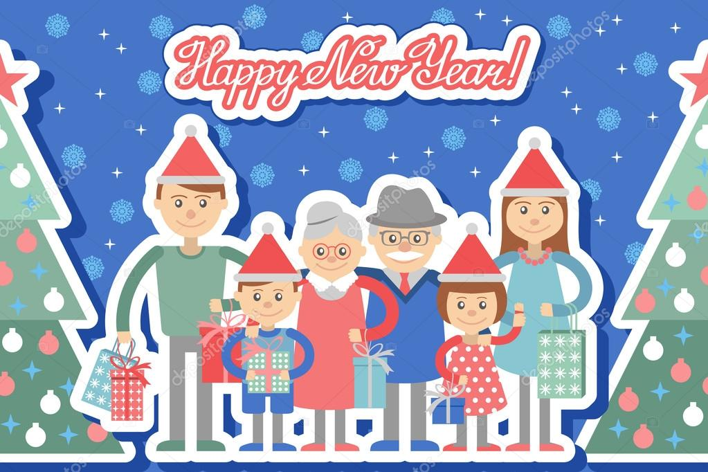 Große, glückliche Familie mit Weihnachtsgeschenke in Händen ...