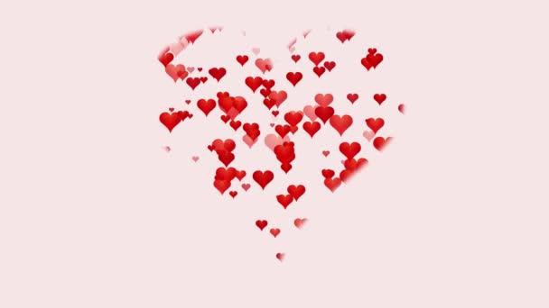 animáció piros szív fehér háttér