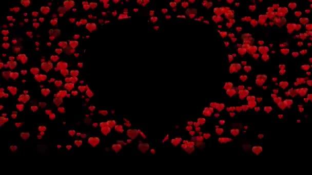 animace červených srdcí na černém pozadí se siluetou srdce v centru