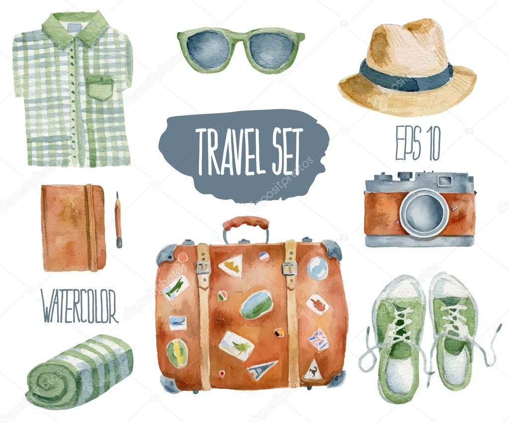 Travel set. Vector watercolor illustration.