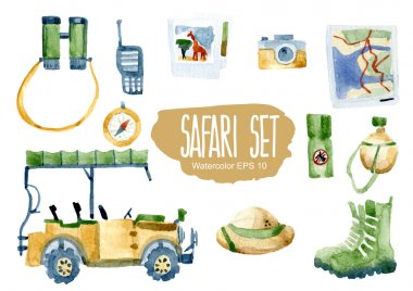 Safari set. Vector watercolor illustration.