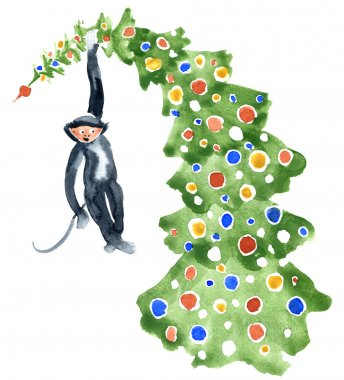 Monkey with Christmas Tree. Watercolor illustration.