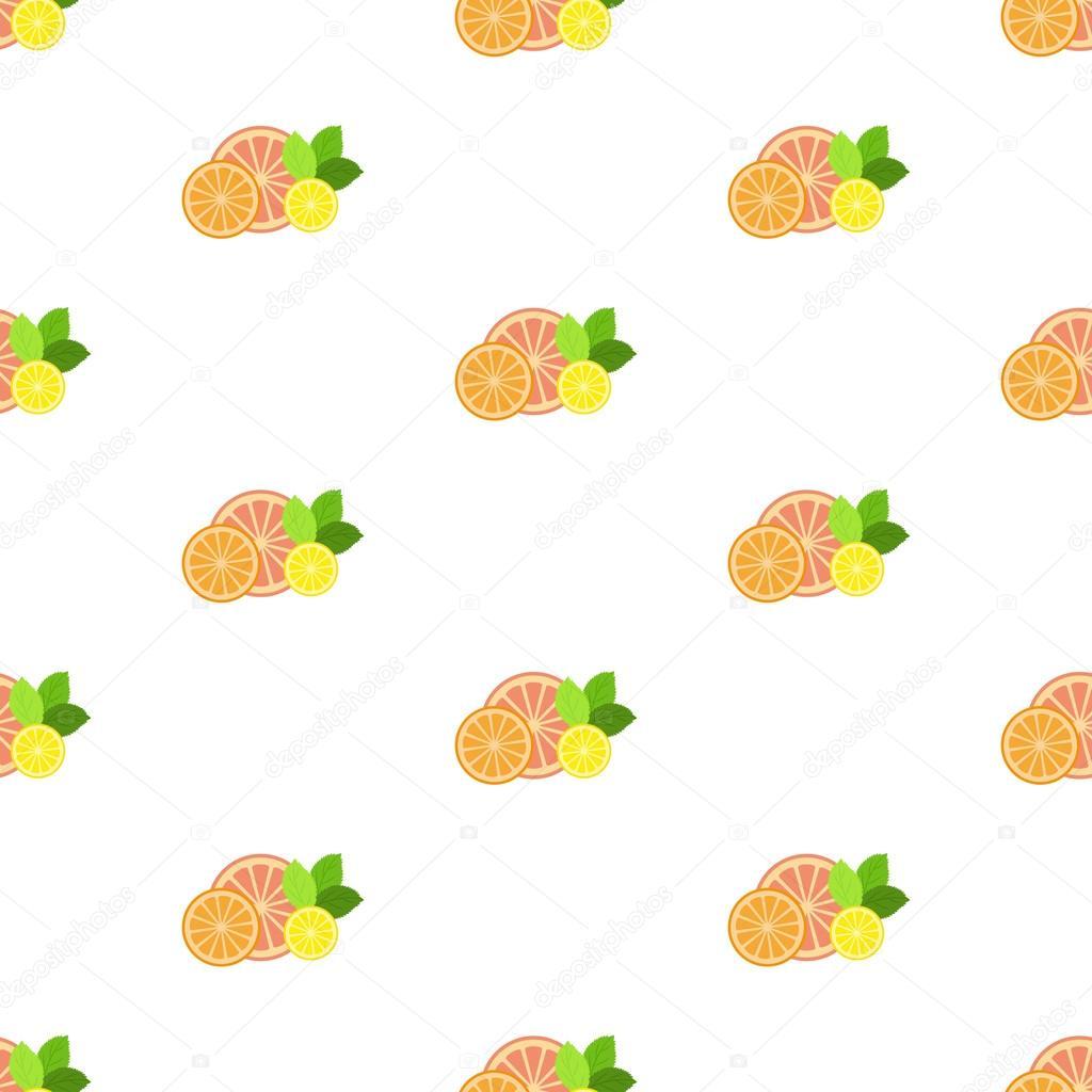 Fruta fresca con menta hojas. Patrón. Sin costura — Vector de stock ...
