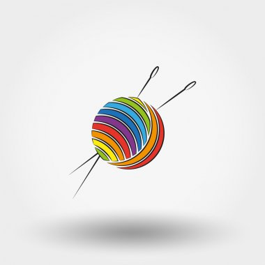 Ball of yarn and needles.