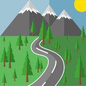 La strada verso le montagne