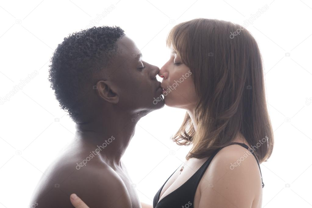 Naked Mid Aged Interracial Couple In Love Kissing Stock 1