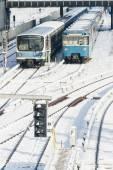 Fotografie Zug in die Winterlandschaft des München