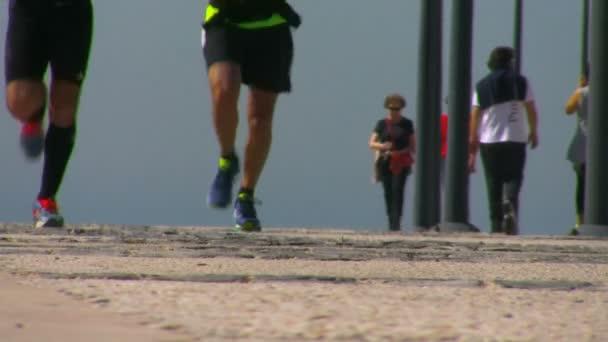 Two men running outdoors