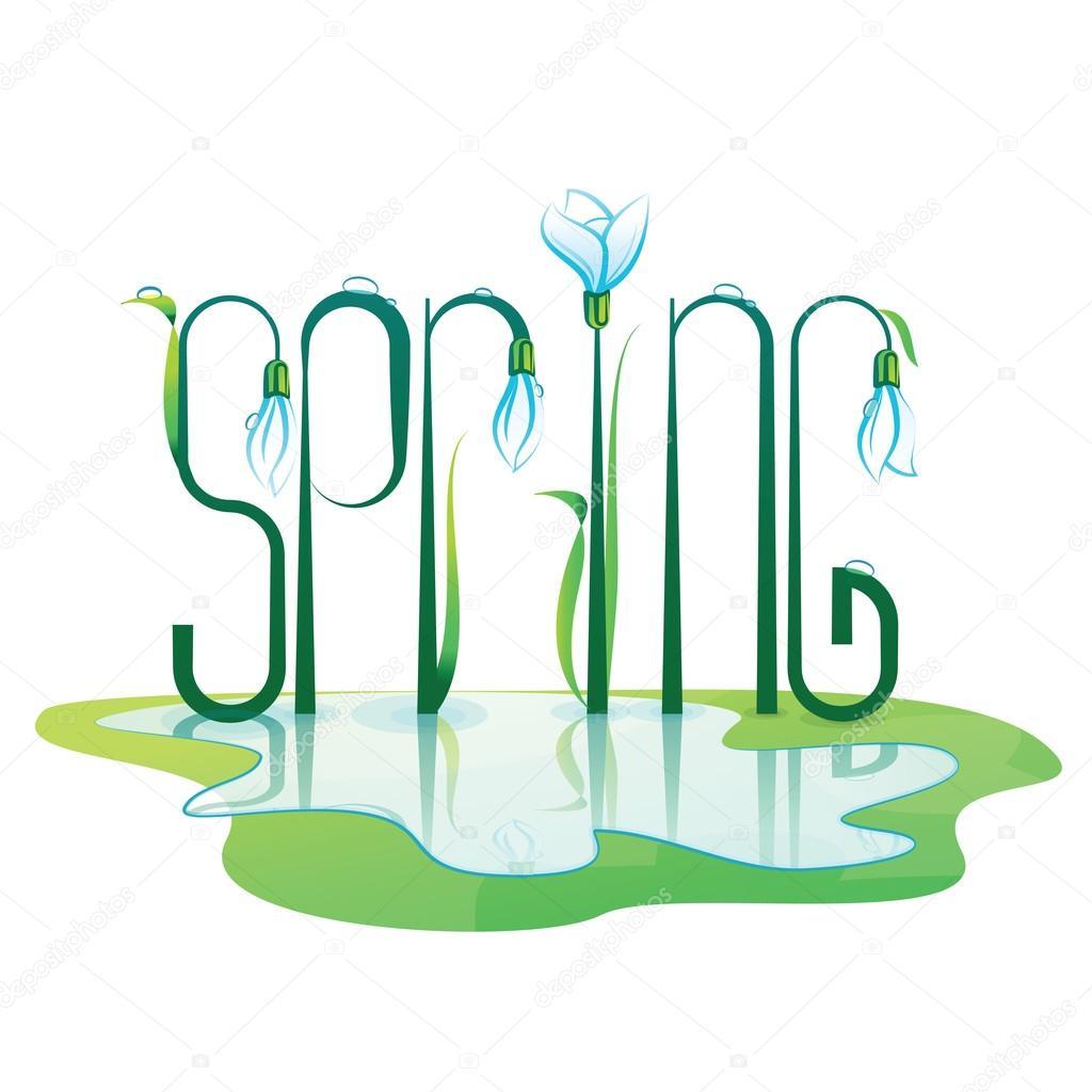 Spring Lettering Design. Color vector illustration.