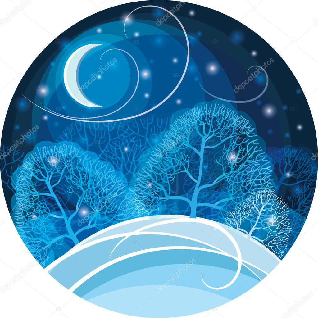 Winter night in the forest. Vector illustration.