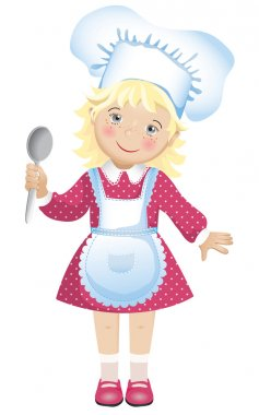 Vector illustration of a cute blond girl in a chef's hat and apron.