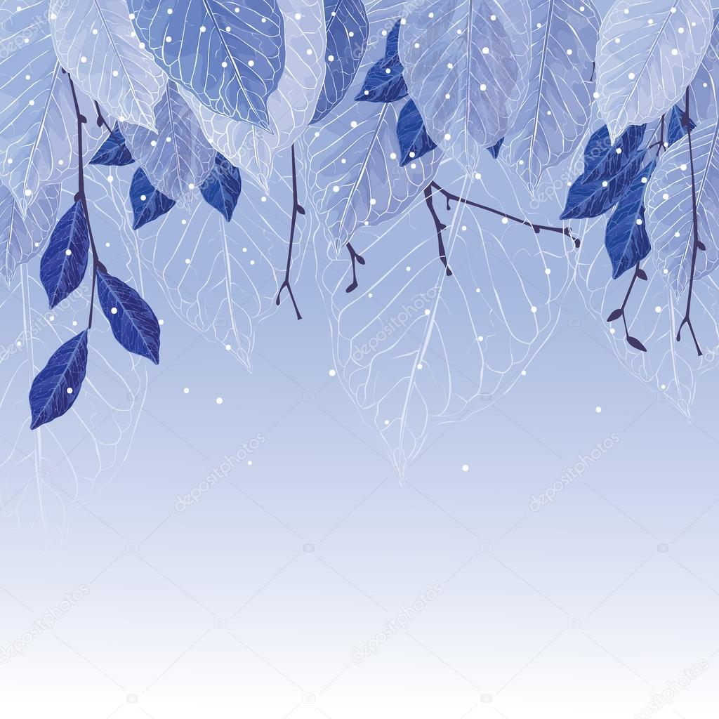 Leaves in the frost vector winter background