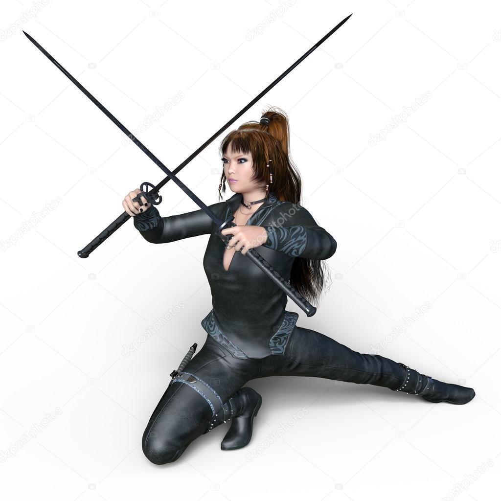 3d Cg Rendering Of A Female Ninja Stock Photo C Tsuneomp 117014364