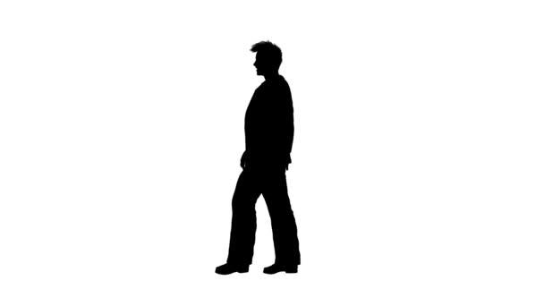 silhouette of business walking man