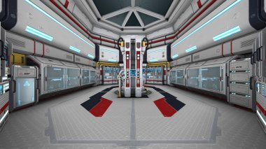 3D illustration of control room