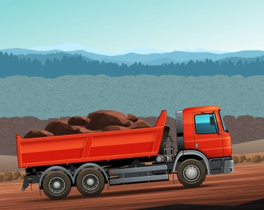 Red tipper dump truck color vector