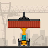 Photo Reach stacker with container