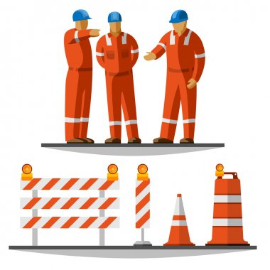 Road construction workers group discussion with helmet and coverall with traffic safety cone, drum, barricade and vertical panel with flash lights. Vector isolated illustration stock vector
