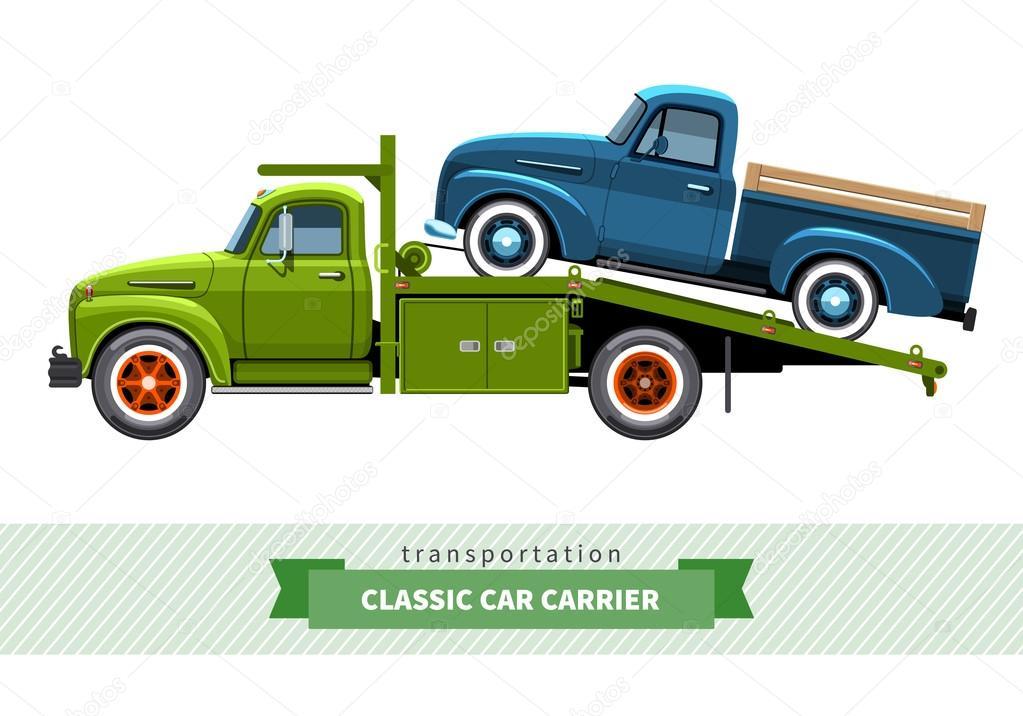 Classic medium duty car hauler truck side view — Stock Vector ...