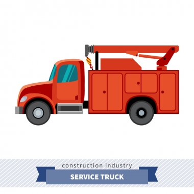 Service truck crane. Side view isolated vector illustration stock vector