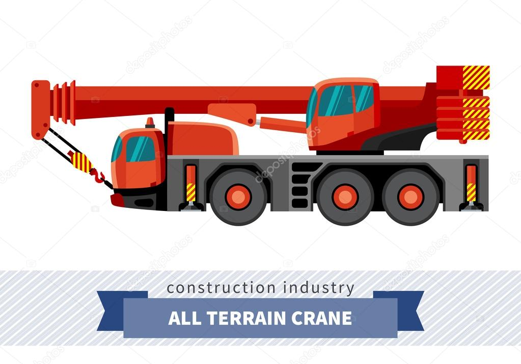 Crane Mounted On Truck Side View Mobile Isolated Vector Illustration By Andriocolt