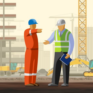 Construction worker discussion with manager at construction site background. Vector illustration stock vector