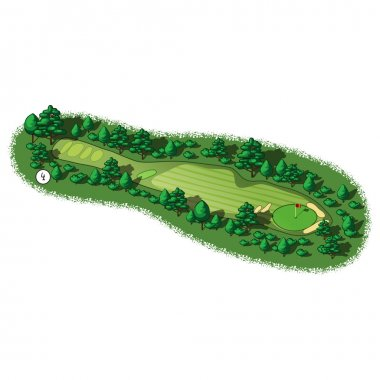 Vector golf course hole aerial isometric view