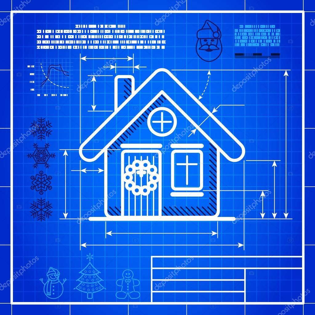 Christmas house icon like blueprint drawing stock vector christmas house icon like blueprint drawing stock vector malvernweather Choice Image