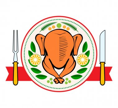 Roasted turkey symbol isolated vector illustration
