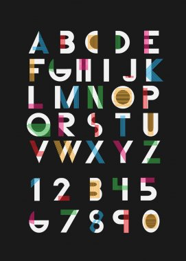 Color alphabetic fonts and numbers.